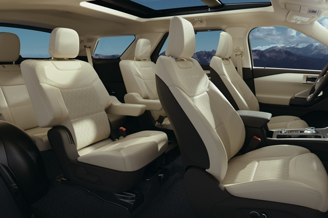 Side view of a 2020 Explorer platinum interior in medium light sandstone