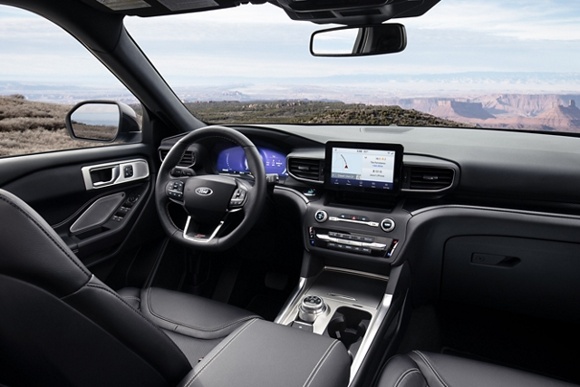 2020 Explorer S T interior in Ebony