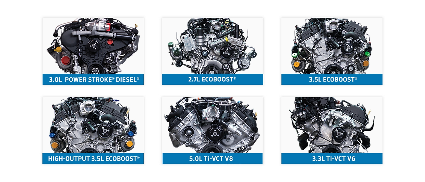 Lineup of turbocharged and naturally aspirated and turbo diesel engines