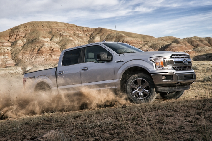 2020 Ford F 1 50 SuperCrew going uphill on remote dirt road