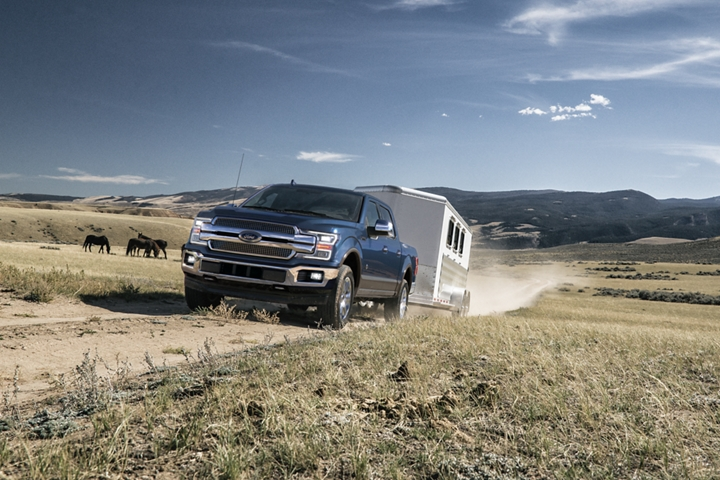 2020 Ford F 1 50 towing horse trailer on ranch