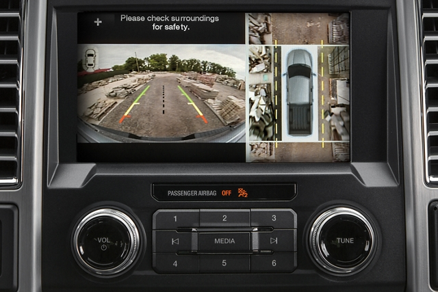 Center dash screen showing 360 degree split view display