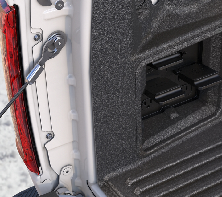 Close up of the pro power onboard outlet located in the bed of the truck