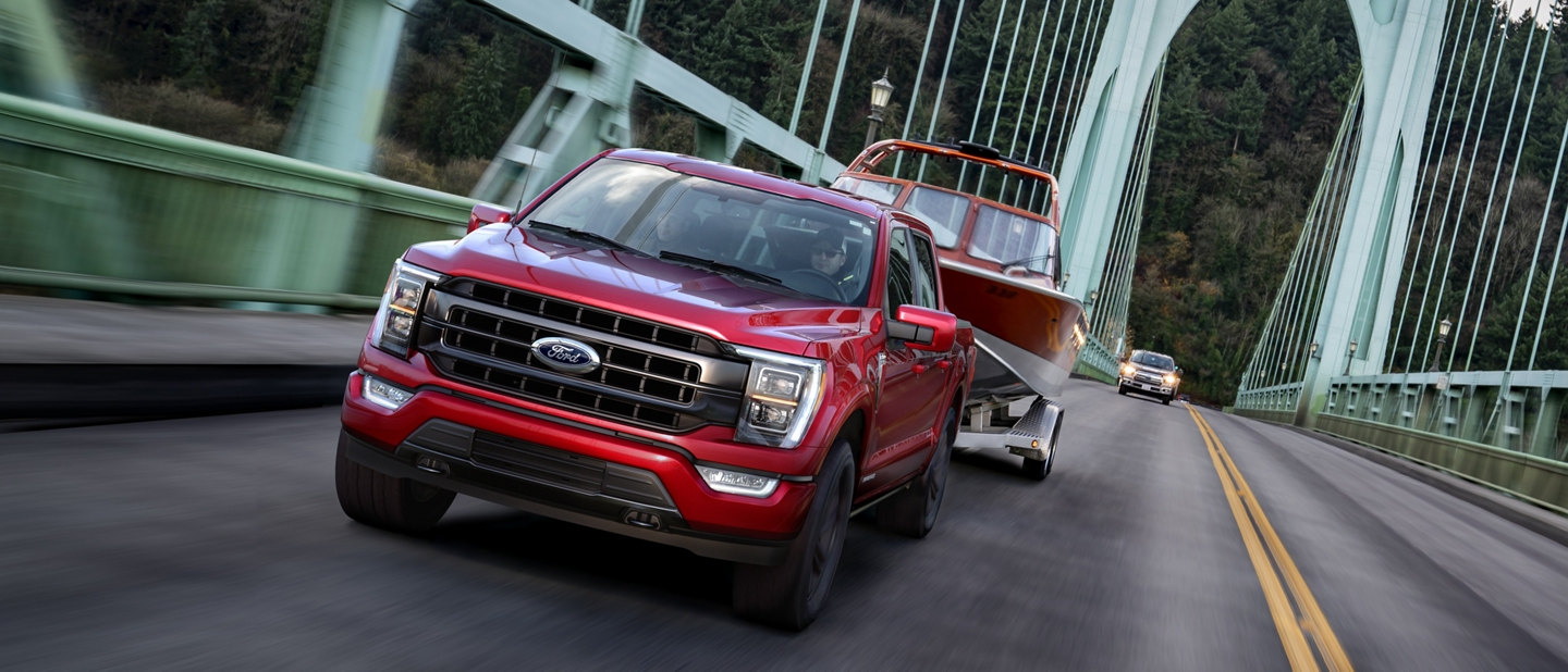 2021 Ford F 1 50 towing a board over a bridge