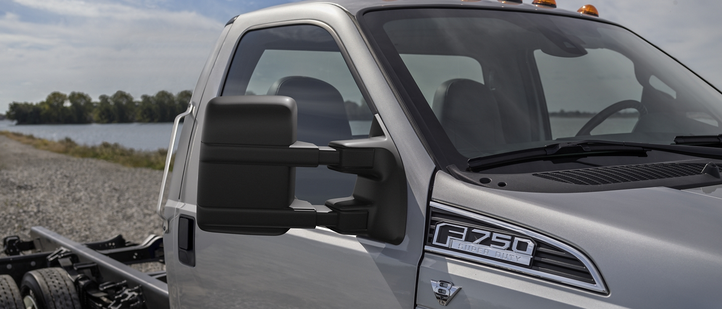 Close up on 2021 Ford F 7 50 in Ingot Silver Class Exclusive Power Telescoping Exterior Mirrors