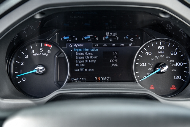 2021 Ford Medium Duty Instrument Panel Cluster showing engine information from Intelligent Oil Life Monitor