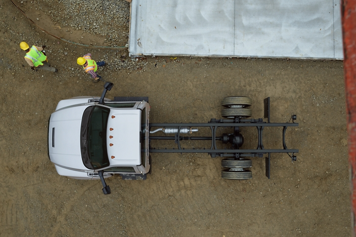 Aerial view of workers near 2021 Ford F 7 50 Regular Cab with Chassis from above