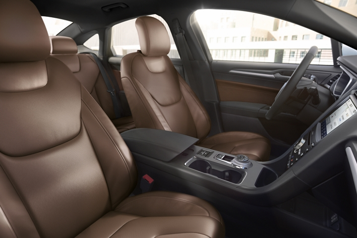 2020 Ford Fusion Titanium interior shown with premium leather trimmed seats in russet