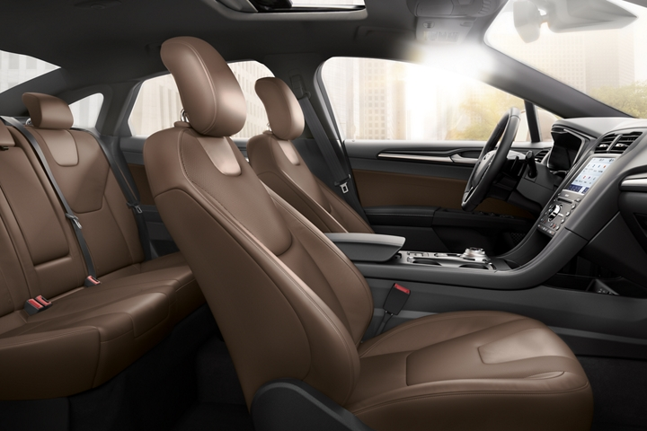 2020 Ford Fusion Titanium interior seating in russet