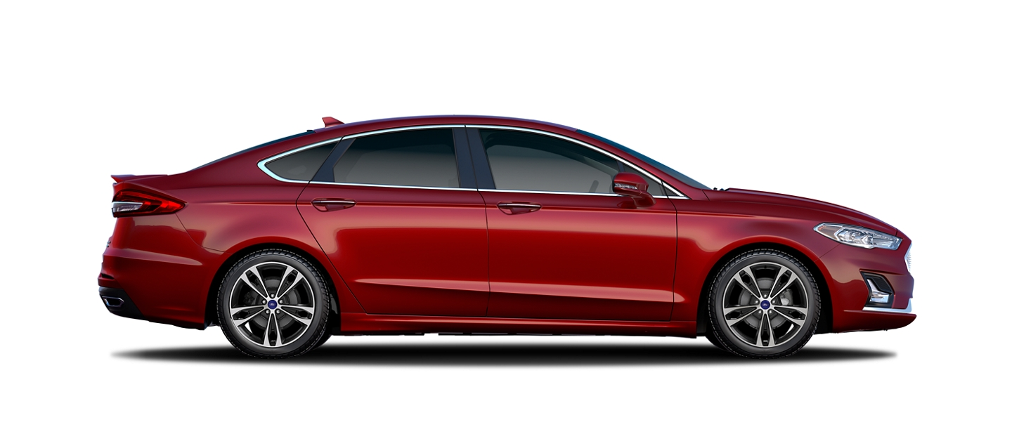 A 2020 Ford Fusion in Rapid Red