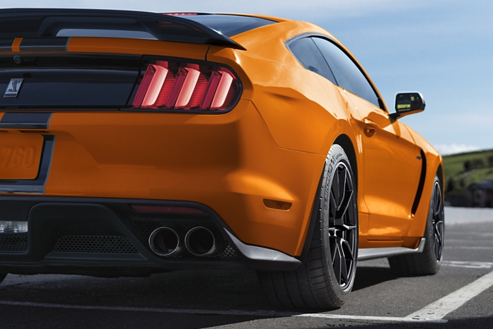 Rear view of a 2020 Ford Mustang Shelby G T 3 50 on a race track