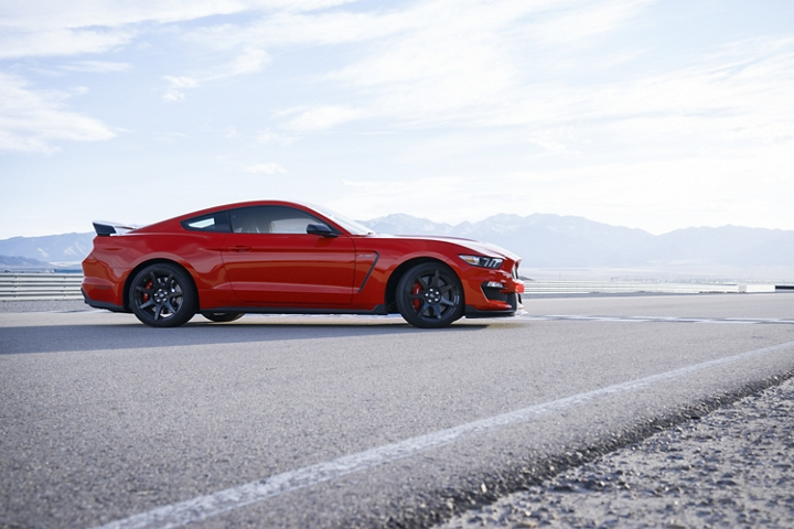 The 2020 Ford Mustang Shelby G T 3 50 R shown on a track