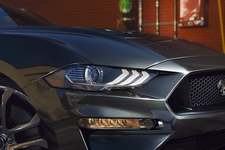 Closeup of the L E D headlamps on the 2020 Ford Mustang