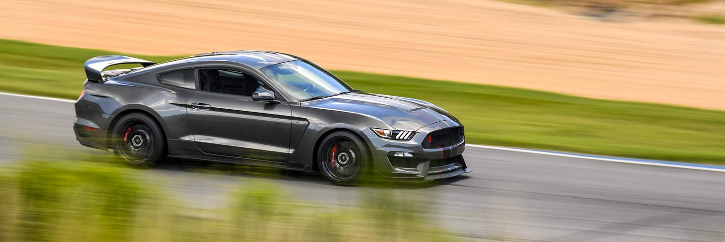 A 2020 Ford Mustang on the track