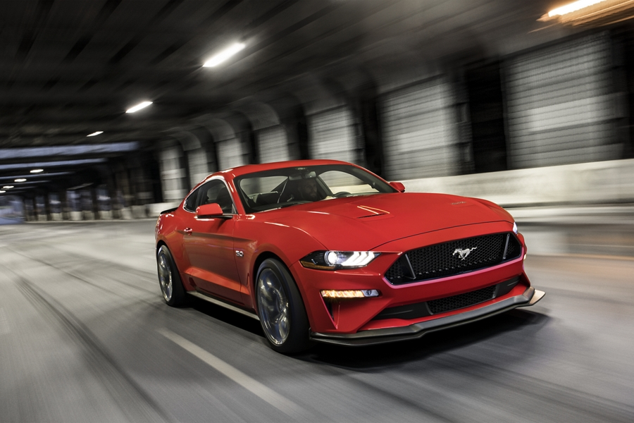 A 2020 Ford Mustang being driven through a tunnel