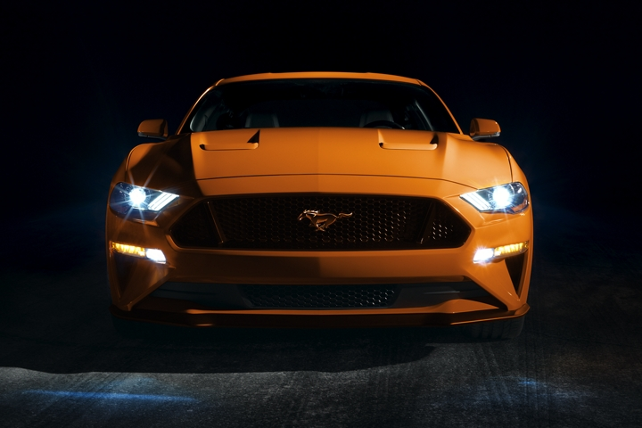 2020 Ford Mustang in Twister Orange Metallic tinted clearcoat with signature L E D lighting