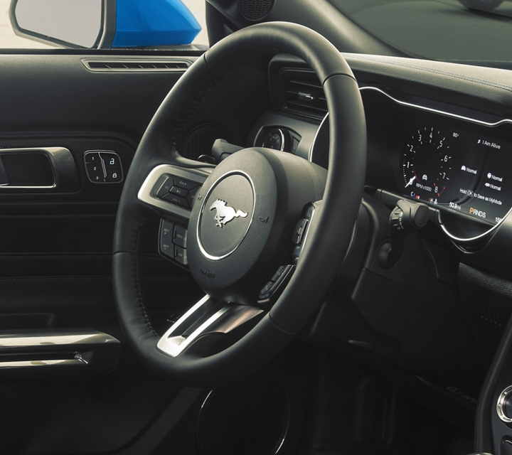 Close up of the unique applique on the dash of the 2020 Ford Mustang
