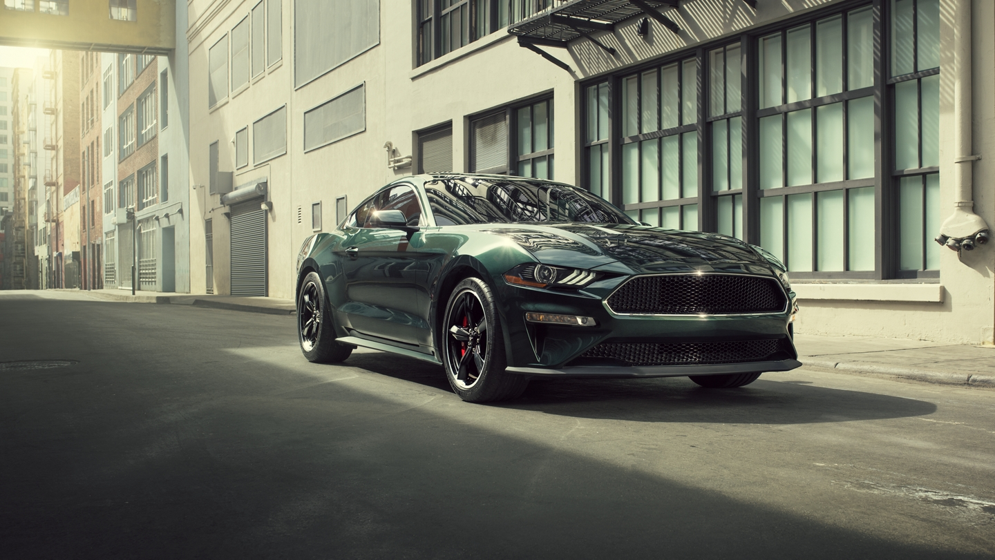A 2020 Ford Mustang BULLITT in an alley