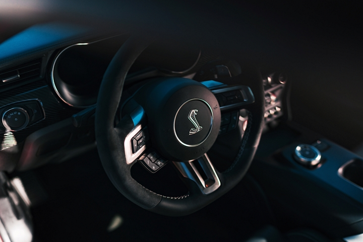Close up of the 2020 Ford Mustang G T 500 steering wheel