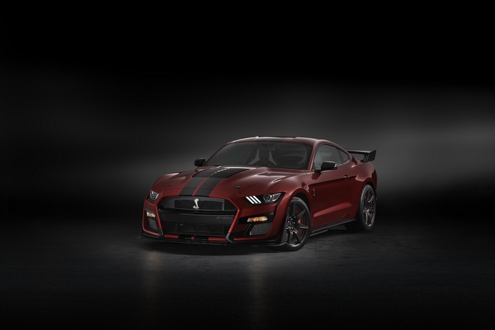 A 2020 Ford Mustang G T 500 in a dark room