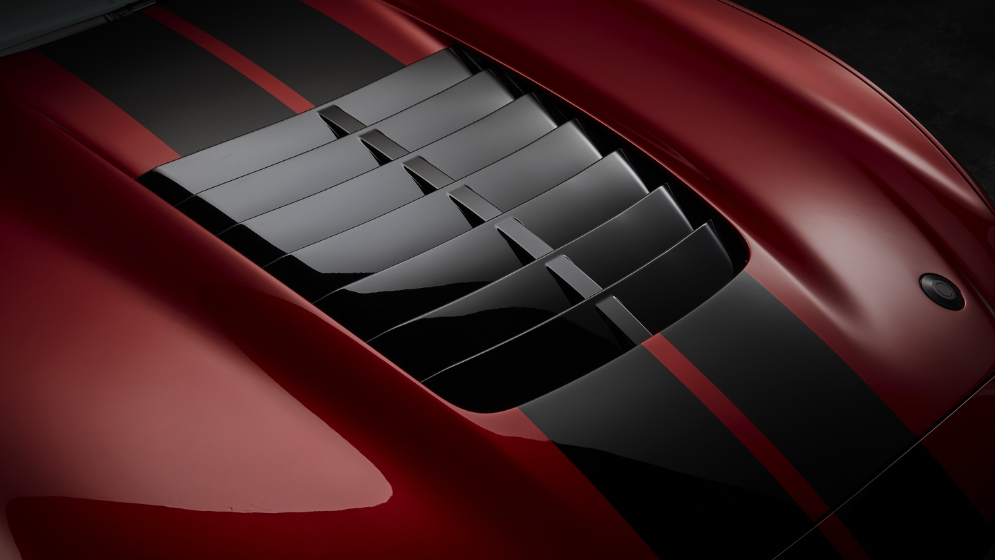 Close up of the 2020 Ford Mustang G T 500 hood vent
