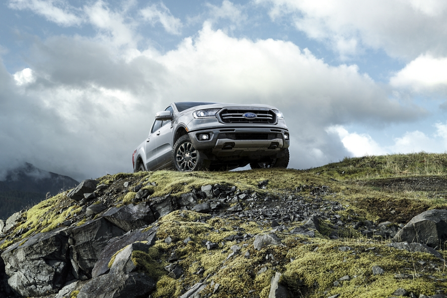 2019 Ford Ranger sitting atop rocky terrain