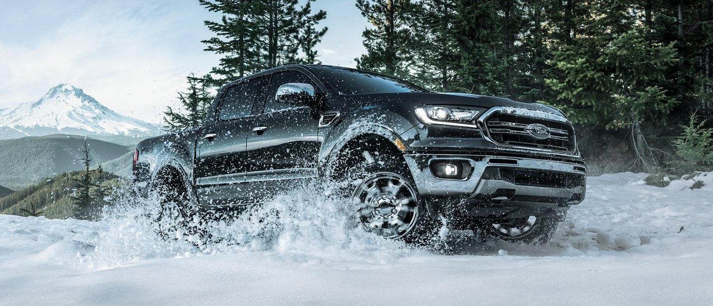 2019 Ford Ranger traveling across snow covered terrain