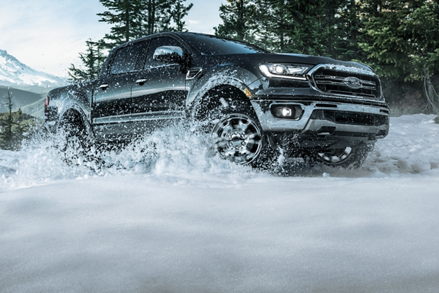 2019 Ford Ranger on snow covered off road terrain
