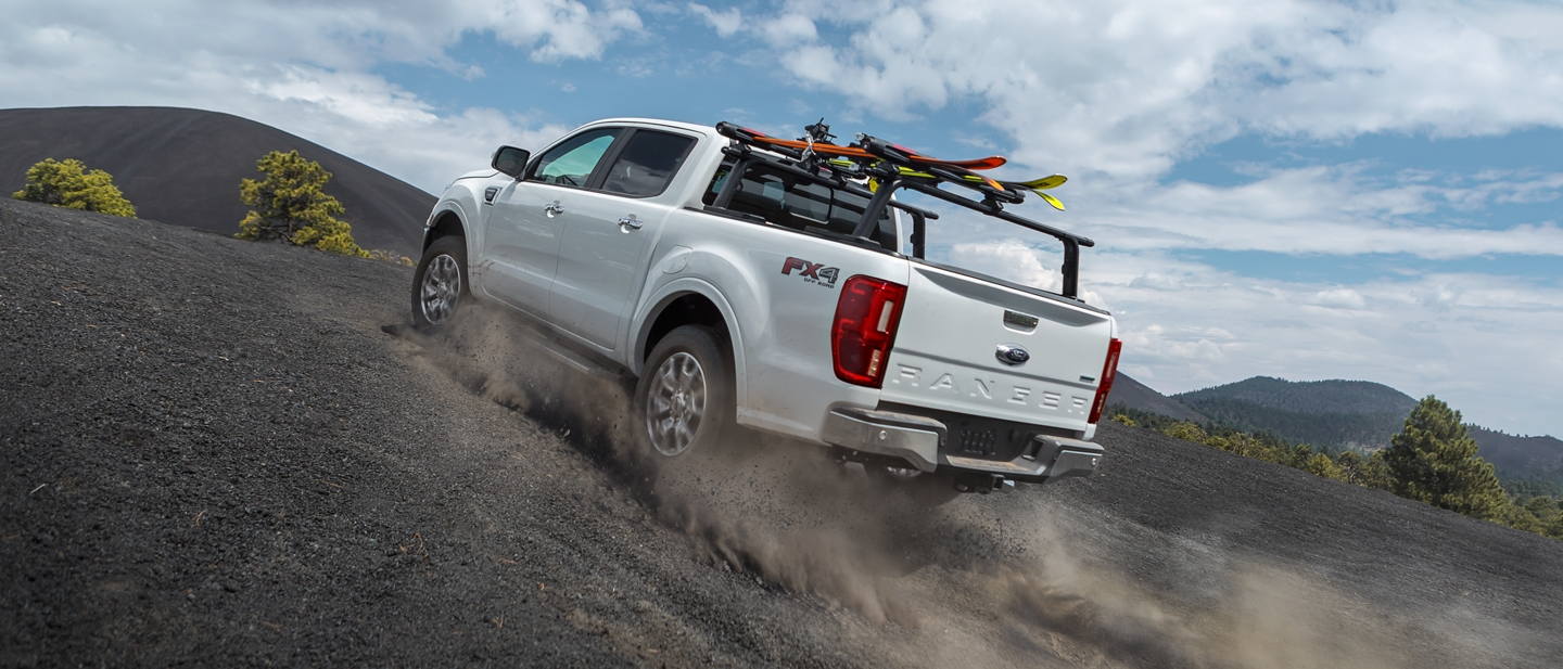 2019 Ford Ranger going uphill on desert terrain