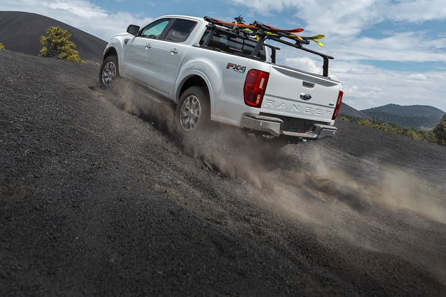 2019 Ford Ranger powering uphill on desert terrain