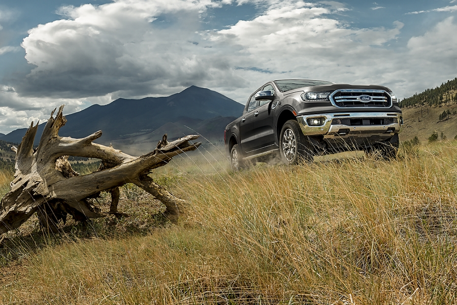 2019 Ford Ranger parked on grassy hill