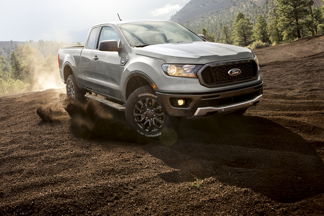 2019 Ford Ranger going downhill on dirt terrain