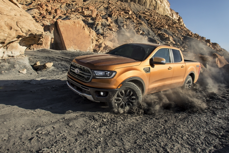 2019 Ford Ranger racing down mountain dirt road