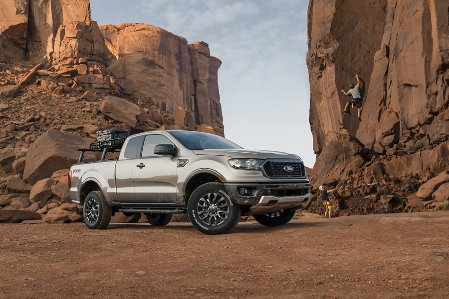 2019 Ford Ranger with rock climbers in the background