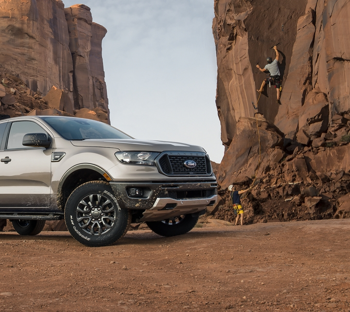 2019 Ford Ranger with rock climbers in background