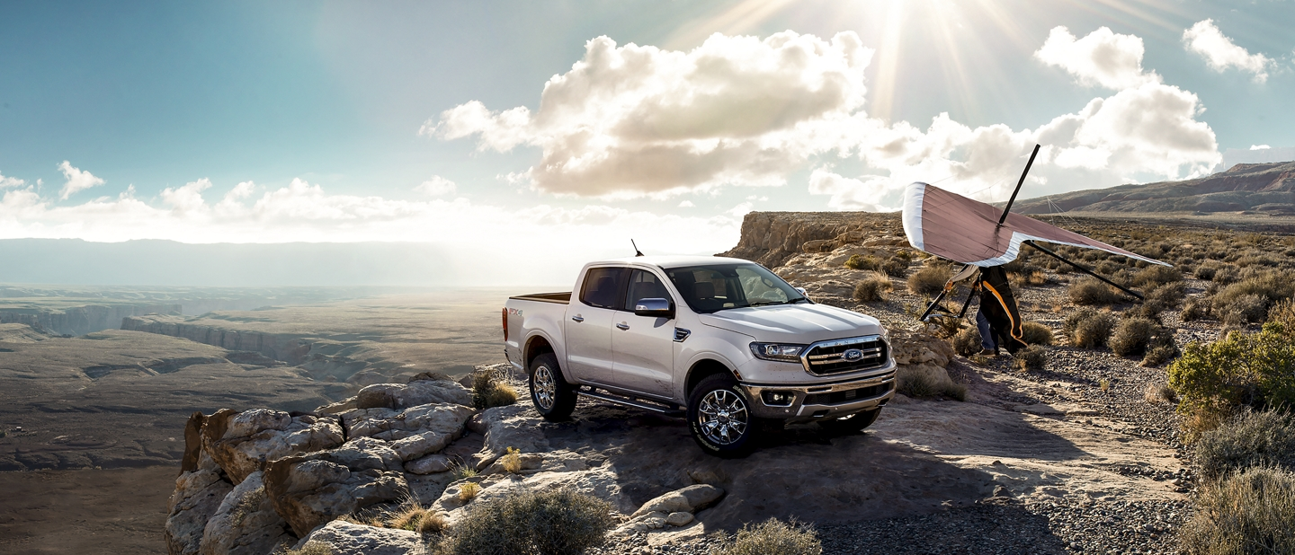 2019 Ford Ranger on high desert ground with hang gliders