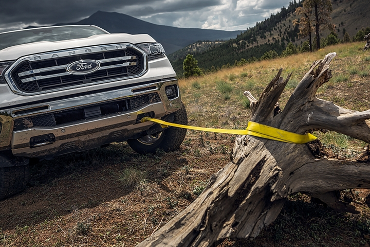 2019 Ford Ranger with front tow hooks included in the F X 4 Off-Road Package