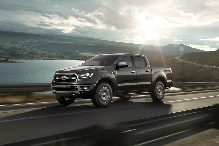 2019 Ford Ranger on curved two lane highway