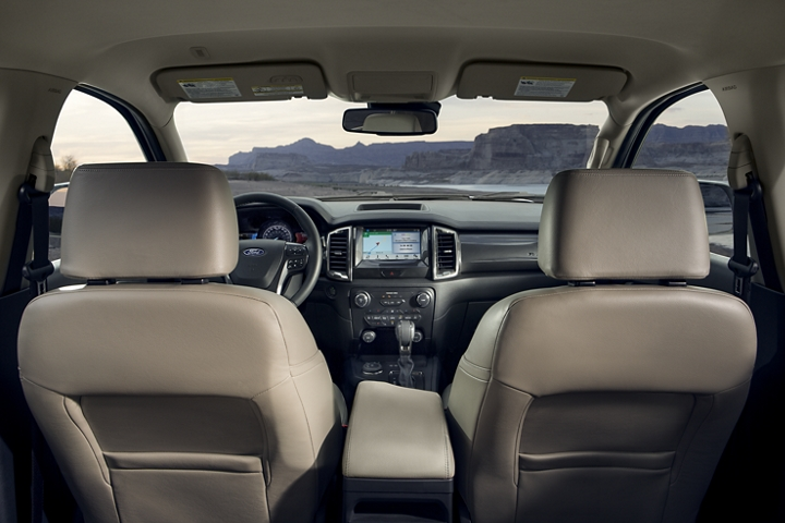 2020 Ford Ranger LARIAT interior with leather trimmed seats and 8 inch center stack touchscreen