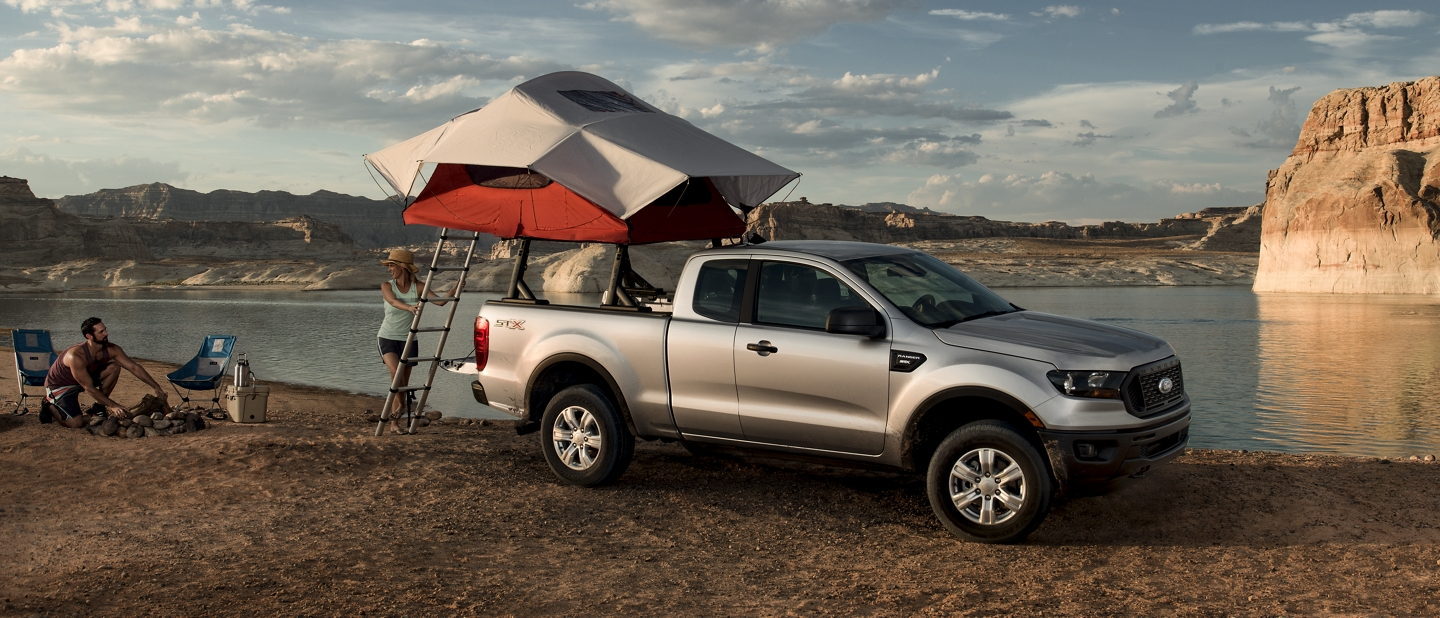 2020 Ford Ranger in Iconic Silver on the shore of a mountain lakefront