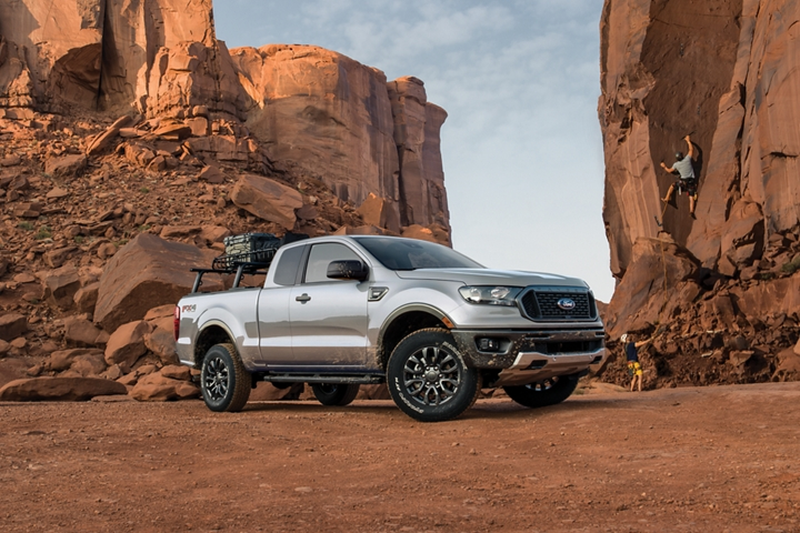 2020 Ford Ranger in Iconic Silver with rock climbers in background