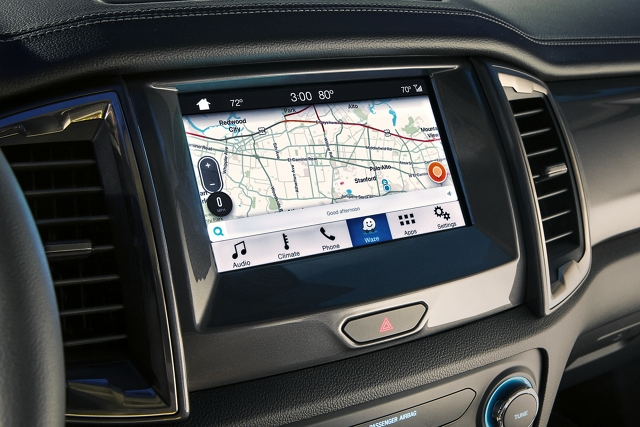 Close in view of map shown in eight inch center dash screen