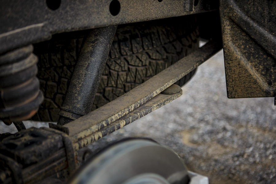 Close in view of parabolic rear leaf springs on a 2020 Ford Ranger