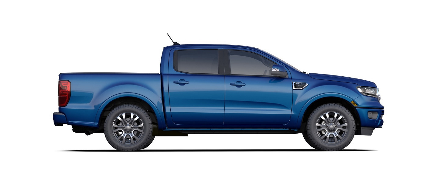 2020 Ford Ranger SuperCrew shown in Lightning Blue