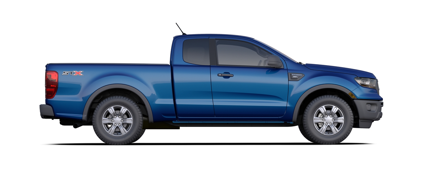 2020 Ford Ranger SuperCab shown in Lightning Blue