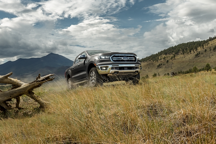 2020 Ford Ranger in Magnetic being driven in the mountains