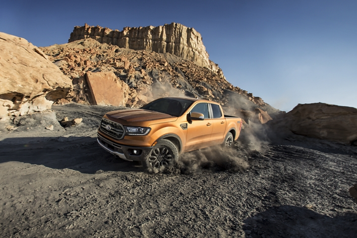 2020 Ford Ranger shown in Saber being driven in the mountains