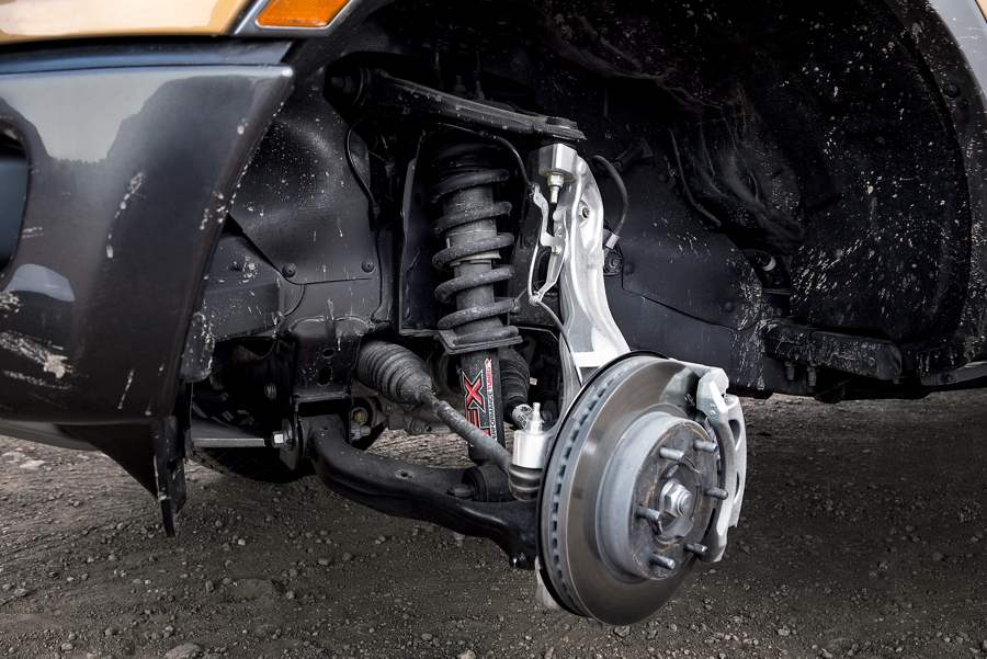 Close in view of independent front suspension with monotube shocks on a 2020 Ford Ranger
