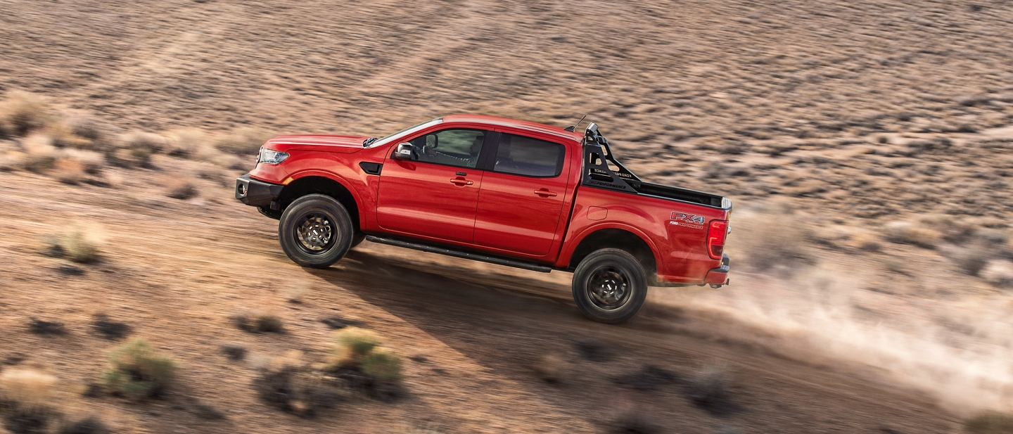 2020 Ford Ranger in Race Red with Ford Performance Level 3 Package on mountain road