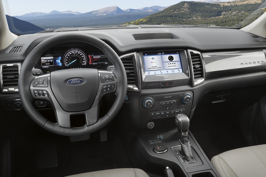 2020 Ford Ranger interior with available features and technology
